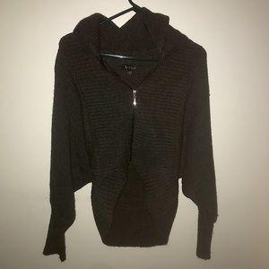 grey zip up cardigan
